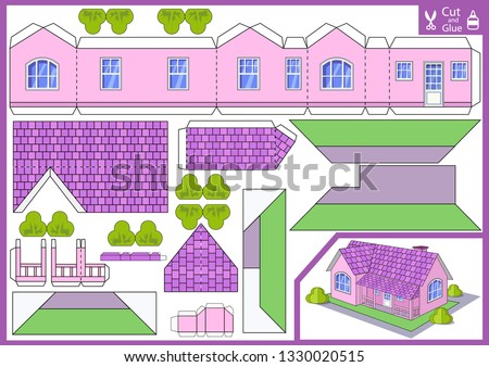 Cut and glue the paper a house. Worksheet with funny education riddle. Children art game. Kids crafts activity page. Create toys yourself. 3d gaming puzzle. Birthday decor. Vector illustration.