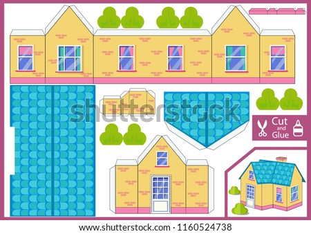 Cut and glue the paper a house. Worksheet with funny education riddle. Kids crafts activity page. Children art game. Create toys yourself. Birthday decor. Vector illustration.