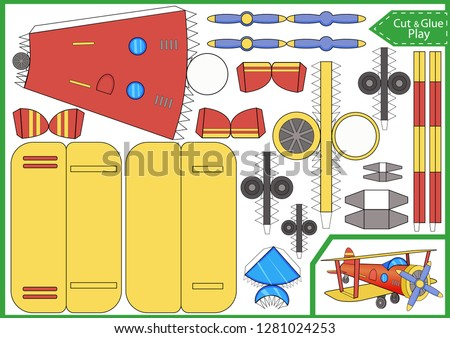 Cut and glue the paper a plane. Worksheet with funny education riddle. Children art game. Kids crafts activity page. Create toys car yourself. Birthday decor. Vector illustration.