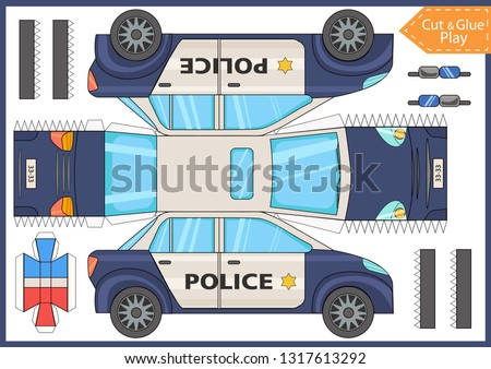 Cut and glue the paper a police car. Worksheet with funny education riddle. Children art game. Kids crafts activity page. Create toys car yourself. Vector illustration.