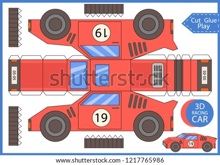 Cut and glue the paper a racing car. Worksheet with funny education riddle. Children art game. Kids crafts activity page. Create toys yourself. Birthday decor. Vector illustration.