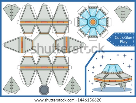 Cut and glue the paper a spaceship UFO. Crafts activity page. Worksheet with funny education riddle. Children art game. Create toys spaceship. 3d gaming puzzle. Birthday decor. Vector illustration.