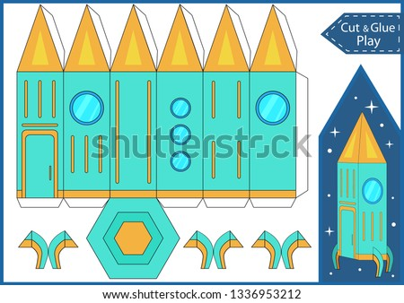 Cut and glue the paper a spaceship. Worksheet with funny education riddle. Children art game. Kids crafts activity page. Create toys yourself. 3d gaming puzzle. Birthday decor. Vector illustration.