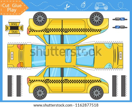 Cut and glue the paper a taxi car. Worksheet with funny education riddle. Children art game. Kids crafts activity page. Create toys yourself. Birthday decor. Vector illustration.