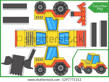 Cut and glue the paper a tractor. Worksheet with funny education riddle. Children art game. Kids crafts activity page. Create toys car yourself. Birthday decor. Vector illustration.