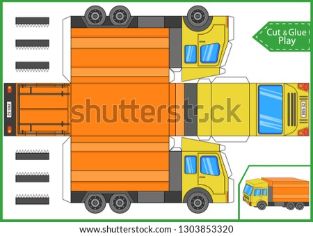 Cut and glue the paper a truck lorry. Worksheet with funny education riddle. Children art game. Kids crafts activity page. Create toys car yourself. Birthday decor. Vector illustration.