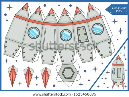 Cut and glue the paper spaceship. Crafts activity page. DIY Miniature. Worksheet with education riddle. Children art game. Create toys spaceship. 3d gaming puzzle. Birthday decor. Vector illustration.