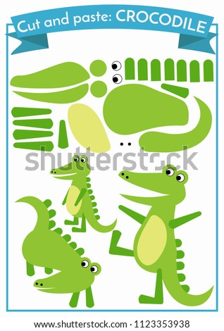 Cut and paste.Three crocodiles from one set of elements. Format A4. Cut and glue. Education for preschoolers.
