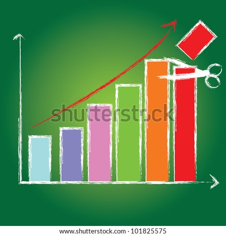 Cut,business growth bar graph on green blackboard