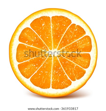 cut fresh ripe orange fully