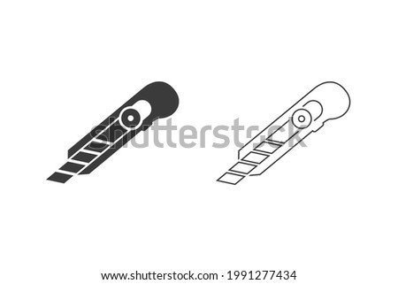 Cut here icon set, stationery knife, cutter for opening packaging, flat symbol on white background - editable stroke vector illustration ストックフォト ©
