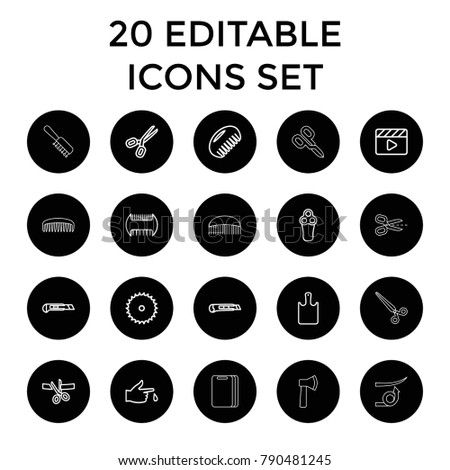cut icons set of 20 editable