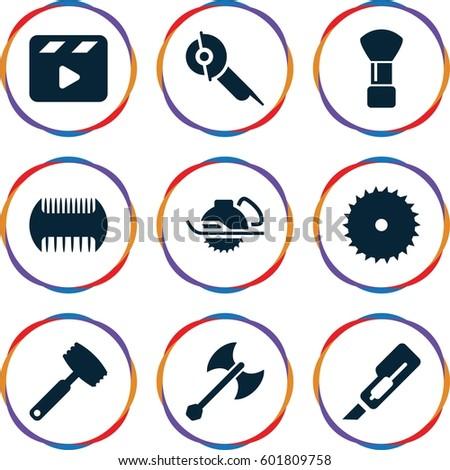 cut icons set set of 9 cut