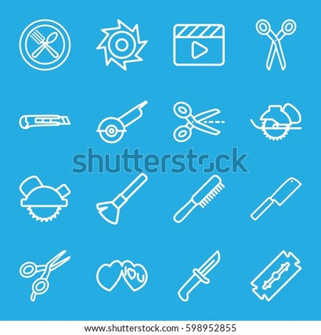 cut icons set set of 16 cut