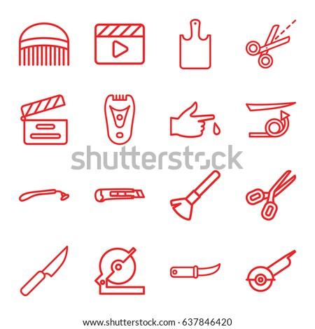 cut icons set set of 16 cut
