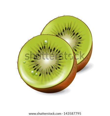 cut kiwi fruit pieces isolated