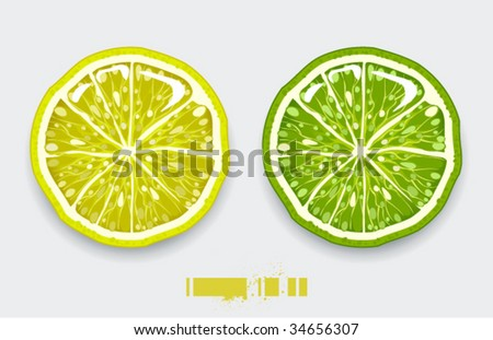 Cut lemon on modern background