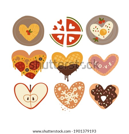 Cut of differend food in the shape of a heart. Romantic unusual form set for Valentine's day banners. Flat vector illustration