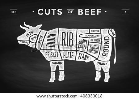 cut of meat set poster butcher diagram and scheme cow vintage  : cow butcher diagram - findchart.co