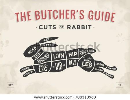 Cut of meat set. Poster Butcher diagram, scheme - Rabbit. Vintage typographic hand-drawn rabbit or hare silhouette for butcher shop, restaurant menu, graphic design. Meat theme. Vector Illustration