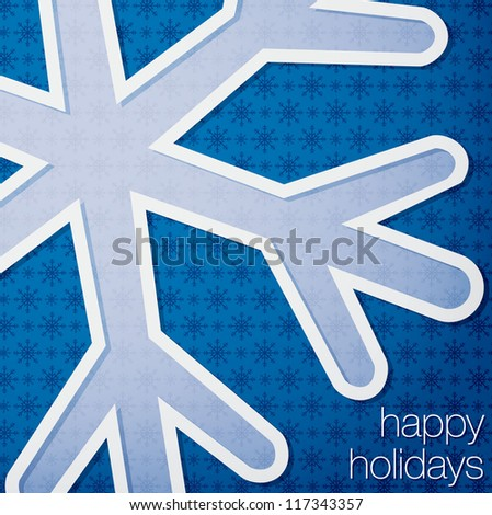 "Cut out ""Happy Holidays"" snowflake card in vector format."