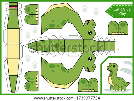 Cut paper 3d a dinosaur. DIY dinosaurs papercraft project. Worksheet for kids craft. Activity page. Education children game. Birthday decor. Vector illustration.