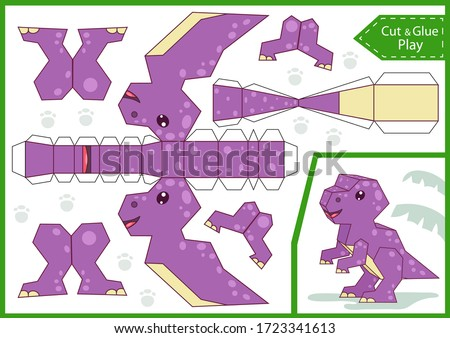 Cut paper 3d a dinosaur. DIY dinosaurs papercraft project. Worksheet for kids craft. Education children activity page. Birthday decor. Vector illustration.
