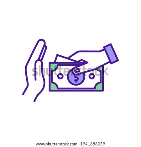 cut spending rgb color icon