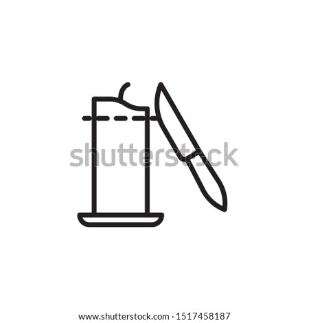 Cut the candle line icon. Labeled for fire safety. Labeling for wax candles. Sings for desing, for a website, for label printing.