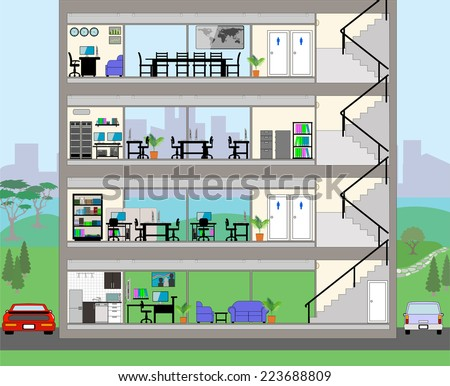Cutaway Office Building with city background - Detailed Grouped and Layered EPS10  Stock photo ©