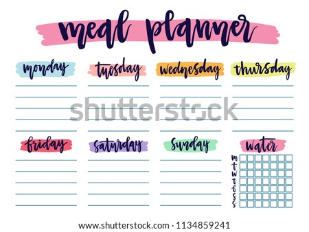 Cute A4 template for weekly and daily meal planner with lettering and hand drawn blobs. Organizer and water check list. Trendy self-organization concept for 2019 with graphic design elements.
