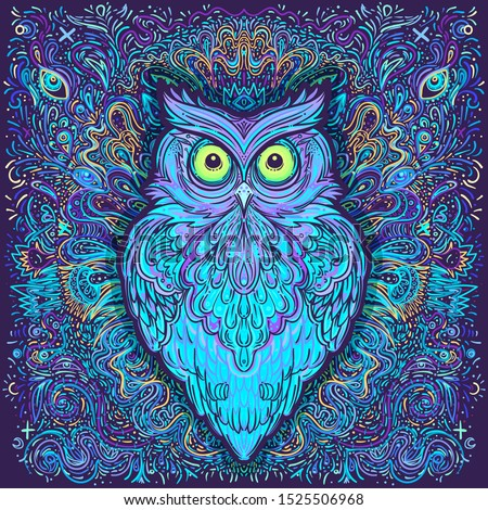 Cute abstract owl and psychedelic ornate pattern. Character tattoo design for pet lovers, artwork for print, textiles. Detailed vector illustration. Totem animal.
