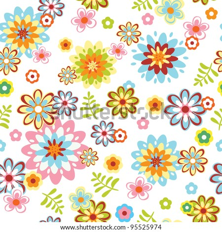 cute abstract seamless floral pattern. Colorful vector illustration