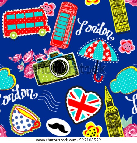 Cute abstract seamless pattern with elements city LONDON on heart.Background.Pretty fashion girlish illustration design.Girlish print with camera,bus,Big Ben,british flag.Wallpaper for boys and girls