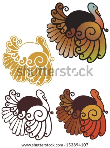 cute abstract turkey spot illustrations, in full color, non gradient, black outline, and reverse for dark backgrounds