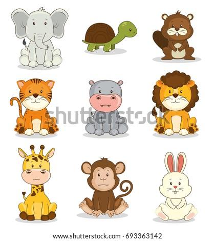 cute adorable animal icon set