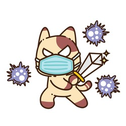 Cute Adorable Happy Brown Cat Kill Corona Virus Infection Fight Use Sword Flat Design Sticker Isolated