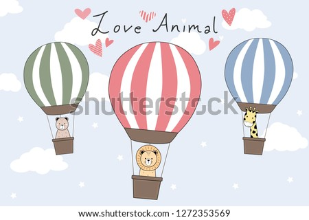 Cute adorable lion giraffe teddy bear riding hot air balloon on blue sky with cloud and love animal text background wallpaper vector eps10