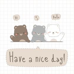 Cute adorable teddy bear and polar bear friend greeting cartoon doodle pastel card vector