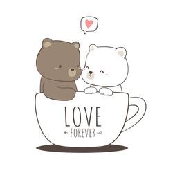 Cute adorable teddy bear and polar bear love couple sitting in coffee cup cartoon doodle vector