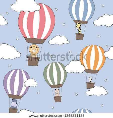 Cute adorable thin line animals cartoon doodle in hot air balloons in blue sky with cloud seamless pattern background wallpaper vector eps10