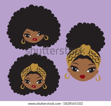 Cute African American black girl with natural afro hair and head wrap vector illustration. Stockfoto ©