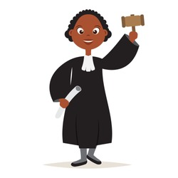 Cute African American The Judge Cartoon Women Character with Hold the hammer for Judge and Justice,vector,illustration.