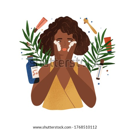 Cute African American young woman applying foamy composition wash face vector flat illustration. Female enjoying skin care use organic cosmetics isolated on white. Natural cleansing product