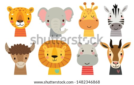 Cute African animal faces. Hand drawn characters. Sweet funny animals. Vector illustration.