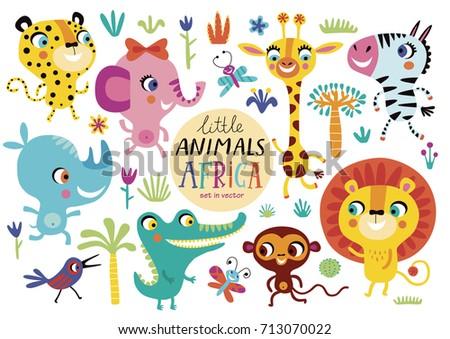 Cute African animals on a white background. Childish vector illustration of elephant, lion, giraffe, Zebra, Rhino, crocodile, monkey, butterfly, bird and leopard.