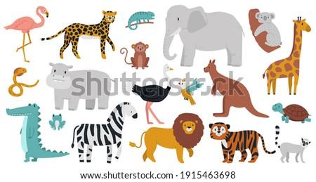 cute african animals wood
