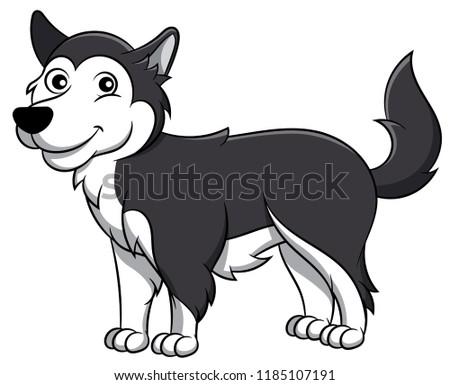 cute alaskan malamute cartoon