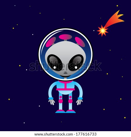 cute alien character and space
