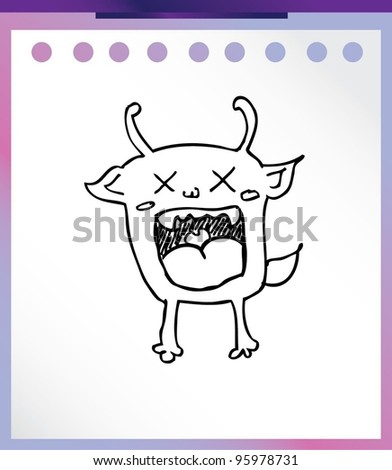 cute alien monster cartoon doodle vector